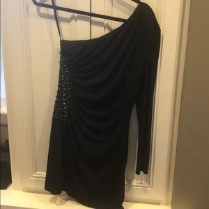 Gianni Bini black one shoulder dress